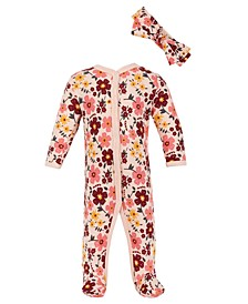 Chick Pea Baby Girl 2pc Pink Floral Footed Coverall and Headband