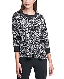 Leopard-Print Crewneck Sweater