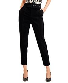 Velveteen Belted Straight-Leg Pants, Created for Macy's
