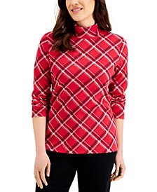 Petite Plaid Mock-Neck Top, Created for Macy's