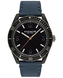 Men's Preston Navy Leather Strap Watch 44mm