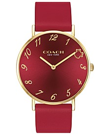 Women's Perry Red Leather Strap Watch 36mm