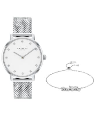 코치 여성 손목 시계 COACH Womens Audrey Stainless Steel Mesh Bracelet Watch 35mm Gift Set
