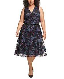 Plus Size Belted Embroidered Fit & Flare Midi Dress
