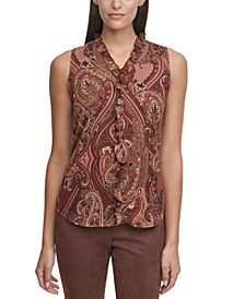 Paisley-Print Ruffled Top