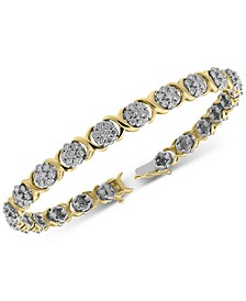 Diamond Cluster Link Bracelet (4 ct. t.w.) in 10k Gold & White Gold