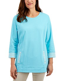 Striped-Trim French Terry Pullover Top, Created for Macy's