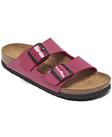 Women's Arizona Birko-Flor Patent Soft Footbed Sandals from Finish Line