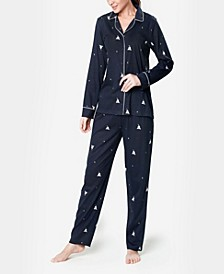 Notch Collar Sleepy Dog Ultra Soft Women's Pajama Set