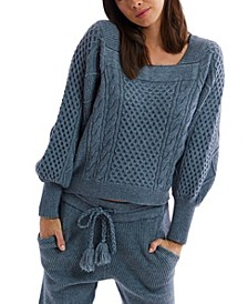 Women's Square Neck Cable Knit Sweater