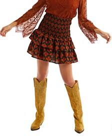 Women's Leaf Print Smocked Mini Skirt