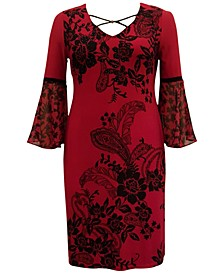 Plus Size Printed Chiffon-Sleeve Dress, Created for Macy's