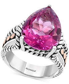 EFFY® Pink Topaz Ring (10-7/8 ct. t.w.) in Sterling Silver & 18k Rose Gold