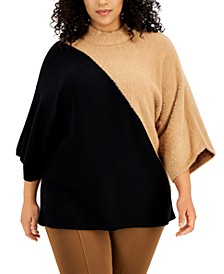 Plus Size Colorblocked Kimono-Sleeve Sweater, Created for Macy's