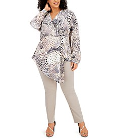 Plus Size Printed Asymmetrical Surplice Top, Created for Macy's