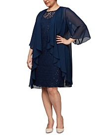 Plus Size Draped Jacket & Embellished Lace Dress Set