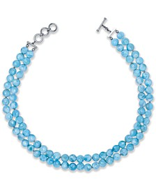 """Larimar Beaded Double Row 18"""" Statement Necklace in Sterling Silver"""