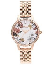 Women's Sparkle Floral Rose Gold-Tone Bracelet Watch 30mm