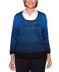 Petite Ombré Layered-Look Sweater