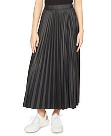 Top Secret Pleated Faux-Leather Midi Skirt