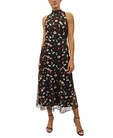 High-Neck Embroidered Maxi Dress