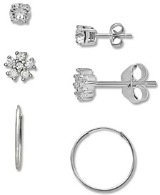 3-Pc. Set Cubic Zirconia Stud & Hoop Earrings in Sterling Silver, Created for Macy's
