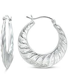 Small Fancy Hoop Earrings in Sterling Silver, Created for Macy's