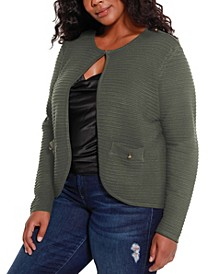 Black Label Women's Plus Size Ribbed Open Cardigan with Shoulder Epaulet