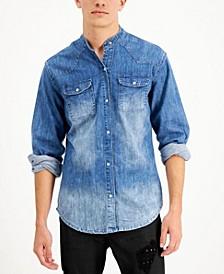 Men's Band Collar Denim Shirt