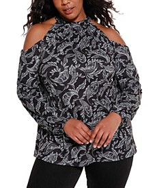 Black Label Women's Plus Size Cold Shoulder with Neck Chain Top