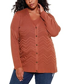 Black Label Women's Plus Size Chevron Pattern Open Cardigan