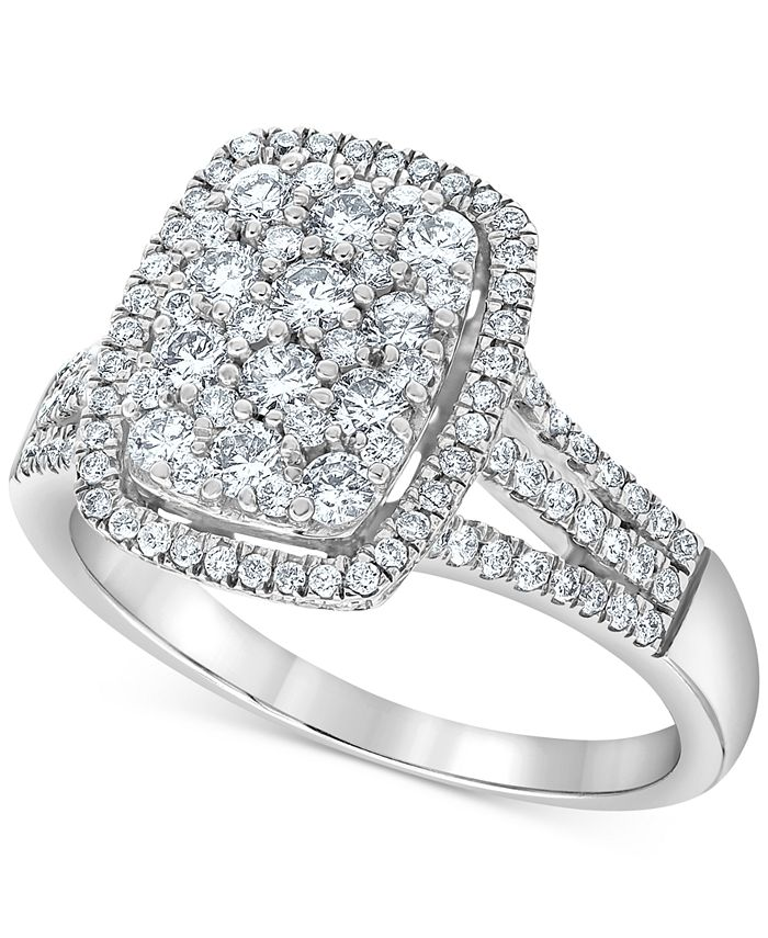 Macy's - Diamond Rectangle Cluster Halo Ring (1 ct. t.w.) in 14k White Gold