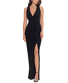 Petite Front-Slit Evening Gown
