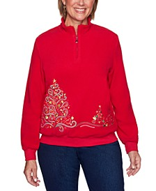 Petite Tree Embroidered Pullover