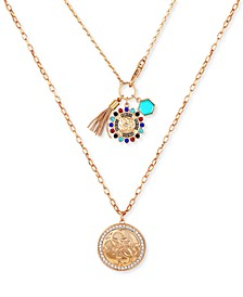 "Gold-Tone Multicolor Crystal, Stone, Chain Tassel & Charm Layered Pendant Necklace, 22"" + 2"" extender"