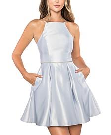 Juniors'  Rhinestone-Waist Lace-Up-Back Halter Dress