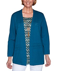 Petite Colorado Springs Chevron-Inner Layered-Look Sweater