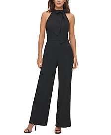 Bow-Trim Halter Jumpsuit
