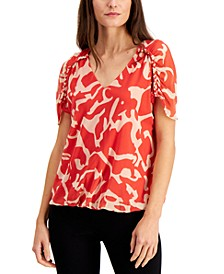 Printed Ruched-Sleeve Top, Created for Macy's