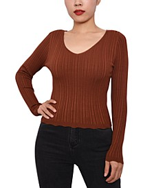 Juniors' Rib-Knit Strappy-Back Sweater