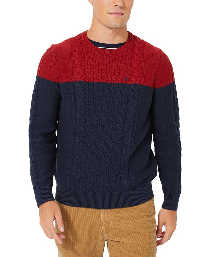 Nautica - Men's Colorblocked Cable Crewneck Sweater