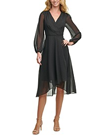 Sheer-Sleeve Surplice Dress