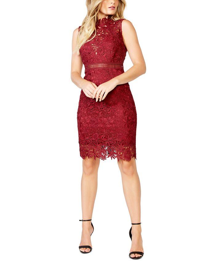 Bardot - Lace Mock-Neck Sheath Dress