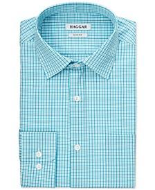 Men's Plaid Turquoise Stretch Dress Shirt
