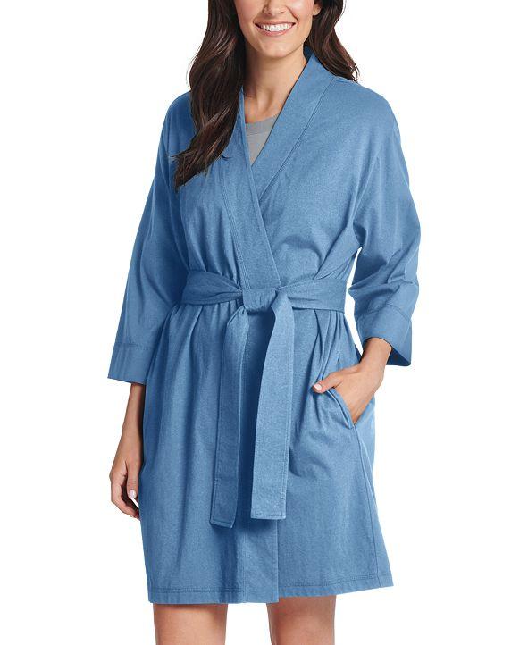 Jockey Women's Short Cotton Wrap Robe
