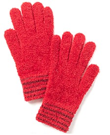 Striped-Cuff Chenille Gloves, Created for Macy's