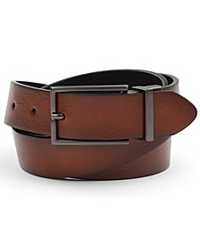 Men's Reversible Gunmetal Faux Leather Belt, Created for Macy's