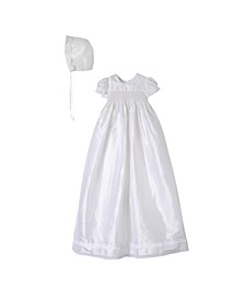 Baby Girls Silk Smocking Christening Gown