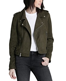 Olive Faux-Suede Moto Jacket