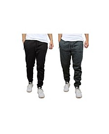 Men's Slim-Fit Marled Fleece Joggers with Zipper Side Pockets - 2 Pack
